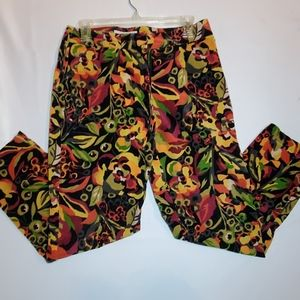 Northern Isles Flower Print Velvet Pants Sz 8